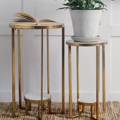 Sherilyn 2 Piece Nesting Tables Finish: Brass