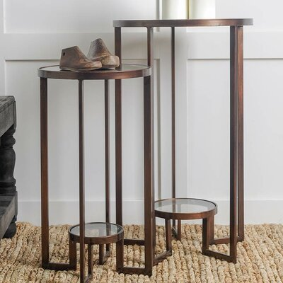 Sherilyn 2 Piece Nesting Tables Color: Bronze