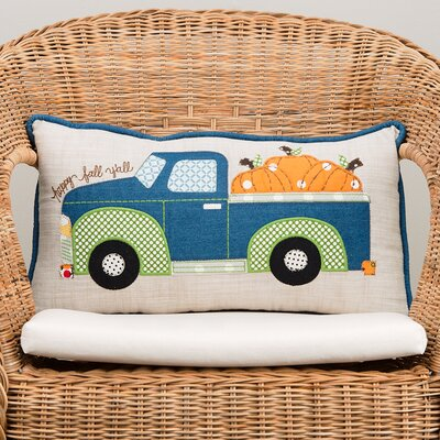 Happy Fall Pumpkin Truck Cotton Lumbar Pillow