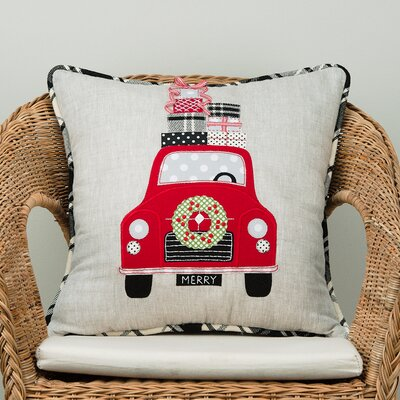 Merry Car Cotton Throw Pillow