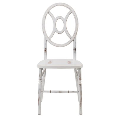 Veronique Series Twin Solid Wood Dining Chair Finish: Lime white wash