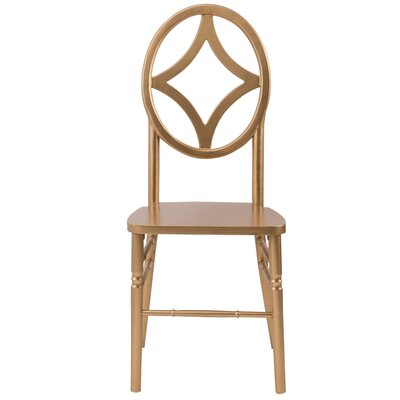 Veronique Series Diamond Solid Wood Dining Chair Finish: Gold