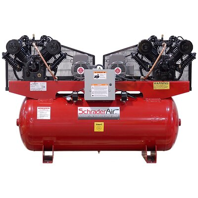Schrader Duplex Professional Series Two Stage 10 HP 120 Gallon Horizontal Air Compressor - Voltage: 208/230V at Sears.com