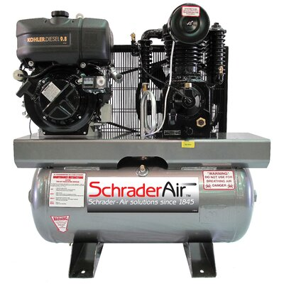Schrader 30 Gallon Compressor For The Service Industry 9.8 HP Diesel Powered Air Compressor