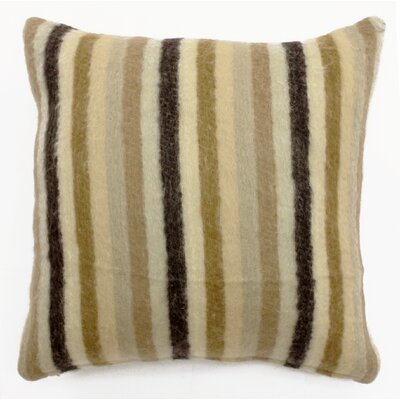 Mohair Blend Striped Accent Pillow Color: Ivory/Beige/Brown