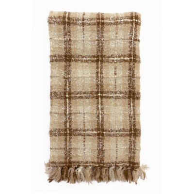 Plaid Mohair Ivory/Camel Throw