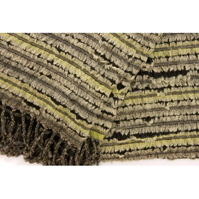 Ribbon Applique Throw Color: Gray/Lime