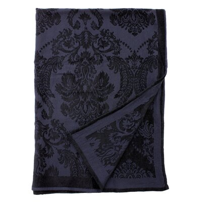Damask Throw Color: Navy/Black