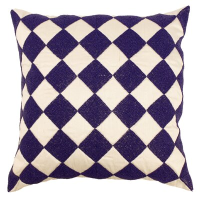 Harlequin Diamond Beaded Silk Throw Pillow