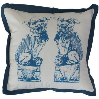 Foo Dogs on Stands Cotton Throw Pillow