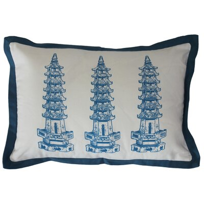 Three Pagodas Cotton Lumbar Pillow