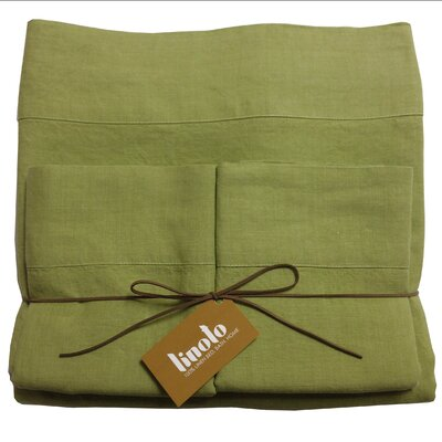 Linen Sheet Set Size: King, Color: Golden Green