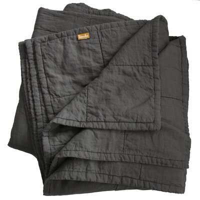Quilted Linen Blanket Size: Queen, Color: Graphite Gray