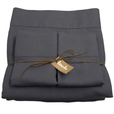 Linen Sheet Set Size: Full/Double, Color: Graphite