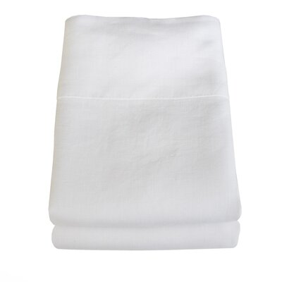 Belgian Eco-Linen Pillowcase Set Color: Optic White, Size: King