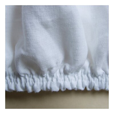 Linen Fitted Sheet Color: White, Size: Queen