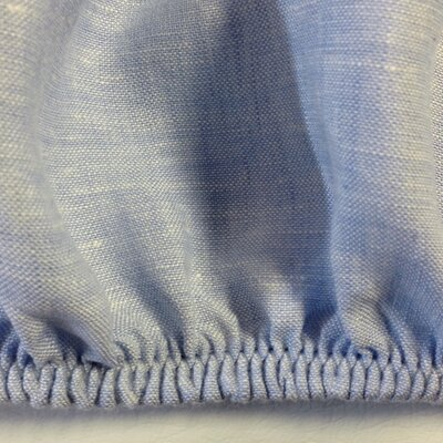 Linen Fitted Sheet Size: Twin, Color: Pale Blue