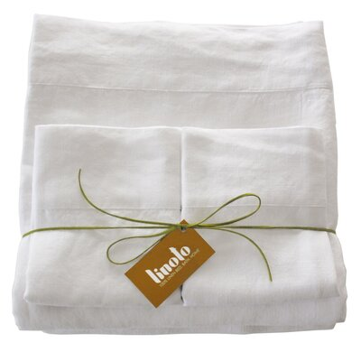 Belgian Eco-Linen Sheet Set Size: Full/Double, Color: Optic White