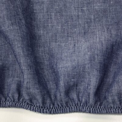 Linen Fitted Sheet Size: Queen, Color: Indigo