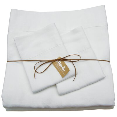 Linen Sheet Set Color: White, Size: Queen