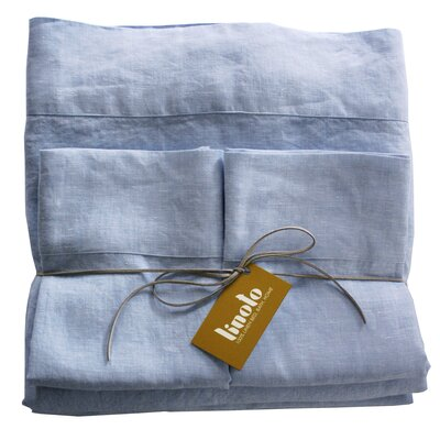 Linen Sheet Set Color: Pale Blue, Size: Queen
