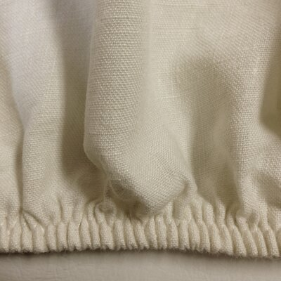 Linen Fitted Sheet Size: King, Color: Ivory