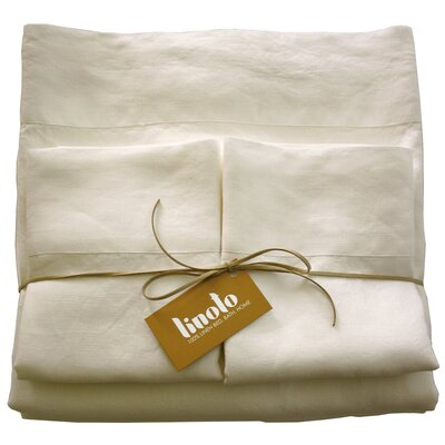 Linen Sheet Set Color: Ivory, Size: Full/Double