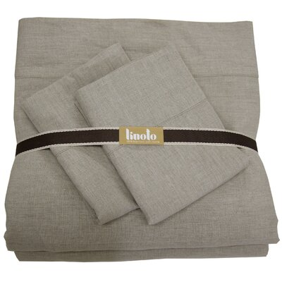 Belgian Eco-Linen Sheet Set Color: Natural, Size: Full/Double