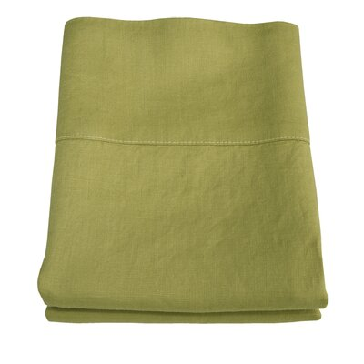 Linen Pillowcase Size: King, Color: Golden Green