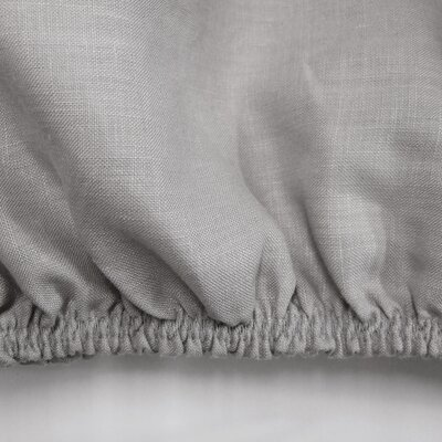 Linen Fitted Sheet Size: Full/Double, Color: Warm Gray