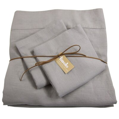 Linen Sheet Set Size: Full/Double, Color: Warm Gray