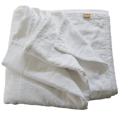 Quilted Linen Blanket Size: King, Color: White