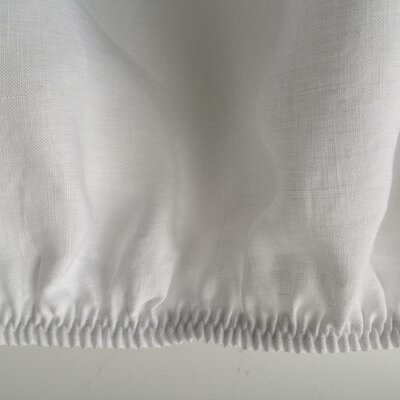 Linen Fitted Sheet Size: Queen, Color: White