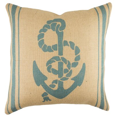 Anchor with Stripes Burlap Throw Pillow