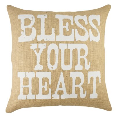 Bless Your Heart Burlap Throw Pillow Color: Natural