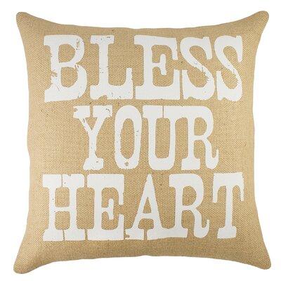 Bless Your Heart Burlap Throw Pillow Color: Natural