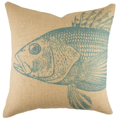Large Fish Burlap Throw Pillow