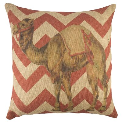 Circus Camel Burlap Throw Pillow