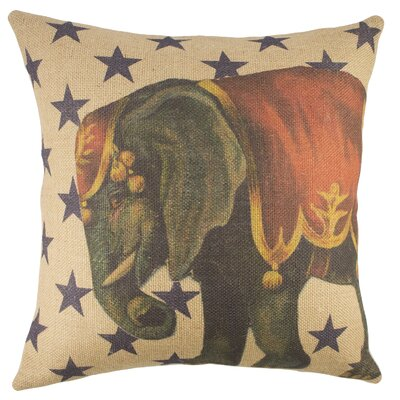 Circus Elephant Burlap Throw Pillow