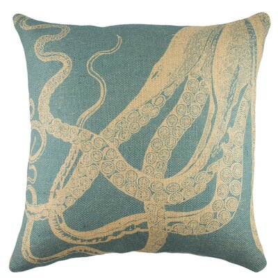 Octopus Burlap Throw Pillow Color: Blue