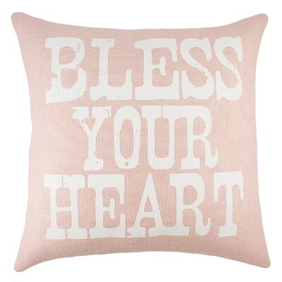 Bless Your Heart Burlap Throw Pillow Color: Pink