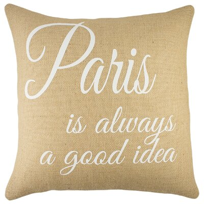 Paris Burlap Throw Pillow Color: Natural