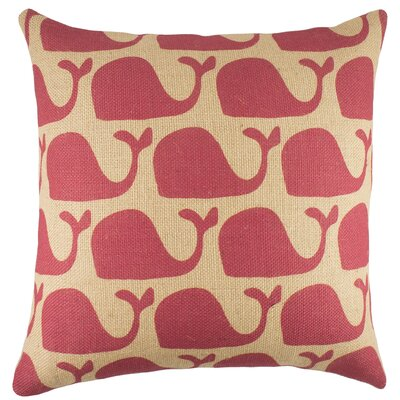 TheWatsonShop Whales Burlap Throw Pillow - Color: Pink