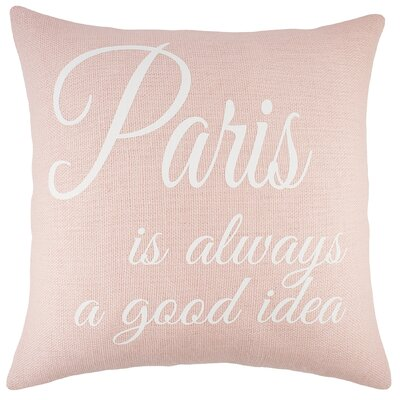 Paris Burlap Throw Pillow Color: Pink