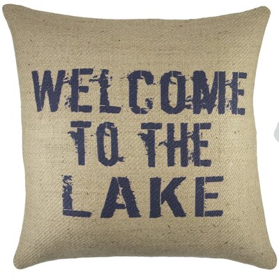Welcome to the Lake Burlap Throw Pillow