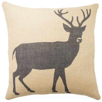 Deer Burlap Throw Pillow Color: Black; Beige