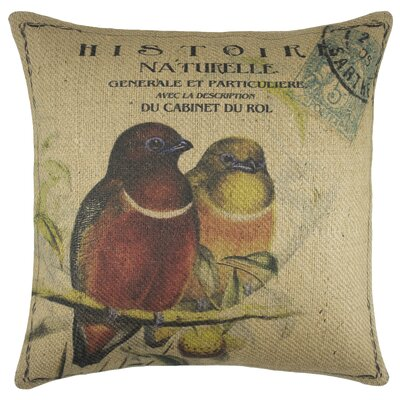 Birds Burlap Throw Pillow