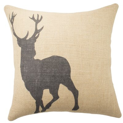 Deer Burlap Throw Pillow