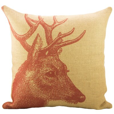 Deer Burlap Throw Pillow Color: Red; Yellow
