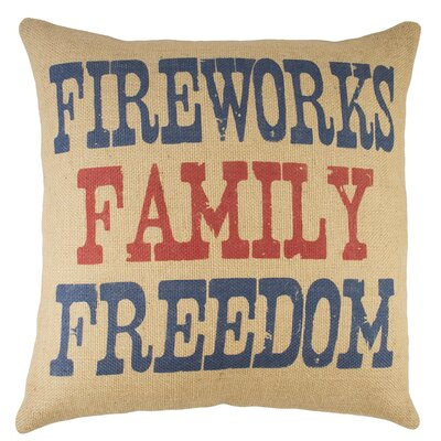 Fireworks Family Freedom Burlap Throw Pillow